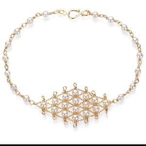 GOLD & PEARL LATTICE BRACELET: Amanda Rudey Design